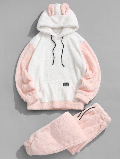 Animal Ear Letter Applique Faux Fur Fluffy Hoodie And Pants Set - Light Pink Xl