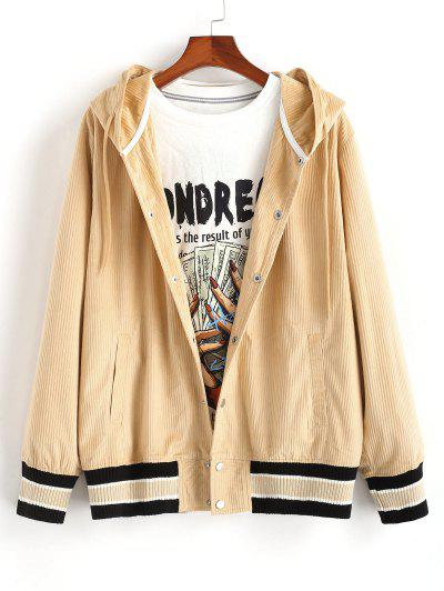 Snap Button Striped Hem Hooded Jacket - Light Coffee M