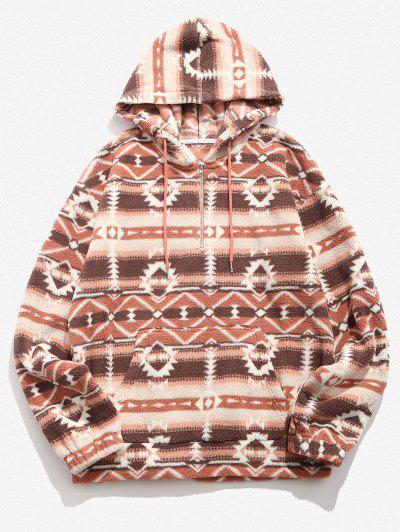 Tribal Geo Pattern Quarter Zip Fleece Hoodie - Multi M