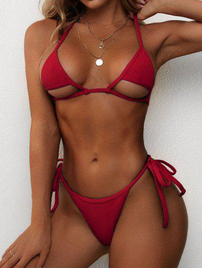 ZAFUL Ribbed Halter Cutout Tie Side String Bikini Swimwear - Red S