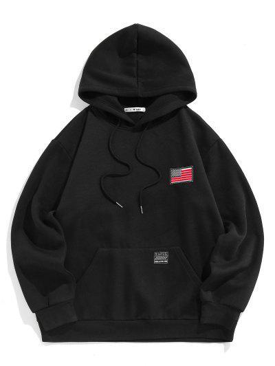 ZAFUL American Flag Badge Patch Fleece Lined Hoodie - Black L