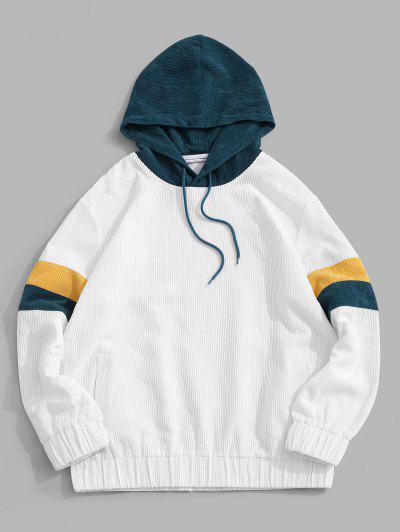 ZAFUL Colorblock Panel Corduroy Hoodie - White L