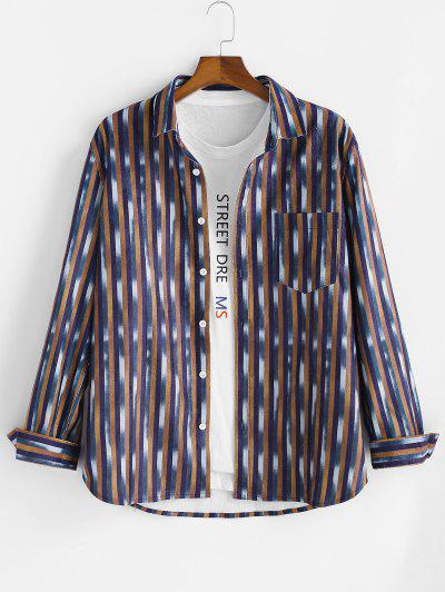 Striped Pattern Pocket Button Up Long Sleeve Shirt - Multi S