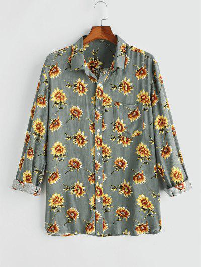 Flower Chest Pocket Long Sleeve Shirt - Gray M