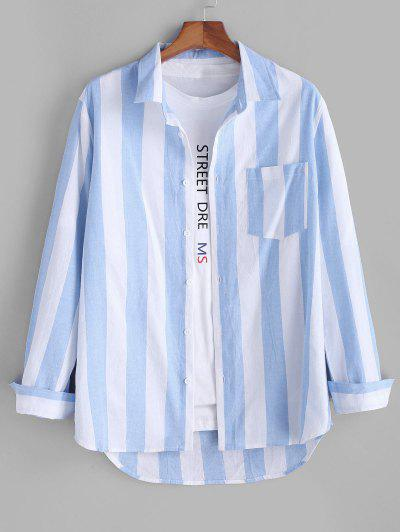Colorblock Striped Long Sleeve Pocket Button Up Shirt - Light Blue 3xl