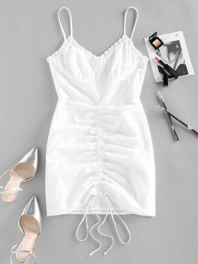 ZAFUL Broderie Anglaise Cinched Tie Ruched Cami Dress - White S