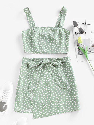 ZAFUL Speckled Smocked Belted Mini Overlap Skirt Set - Light Green S