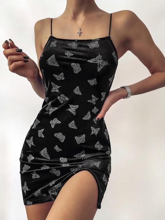 women's ZAFUL Metallic Butterfly Slit Velvet Cami Dress - BLACK S