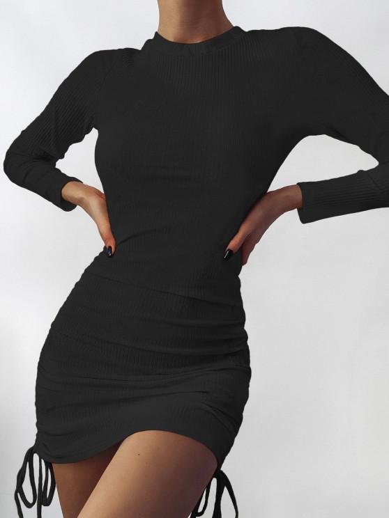womens Drawstring Hem Ribbed Mini Bodycon Dress - BLACK M