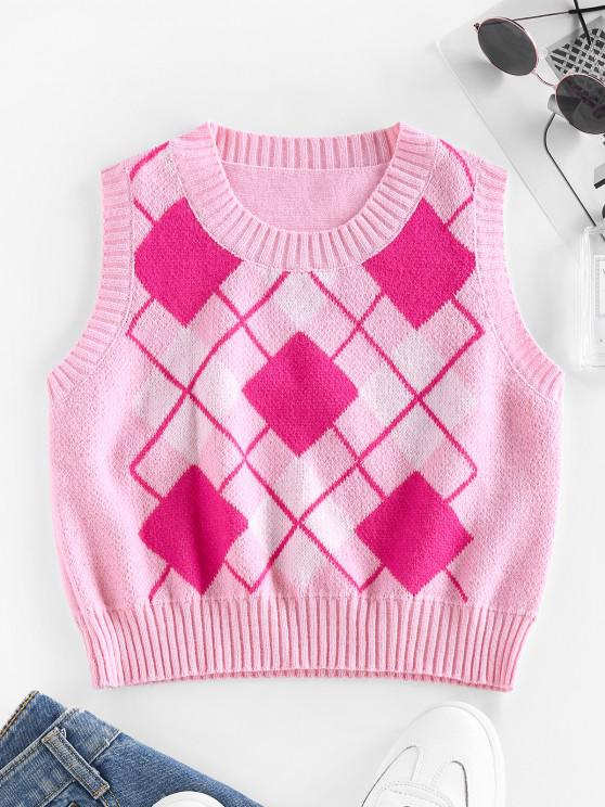 lady ZAFUL Argyle Rib Trim Crop Sweater Vest - PINK S