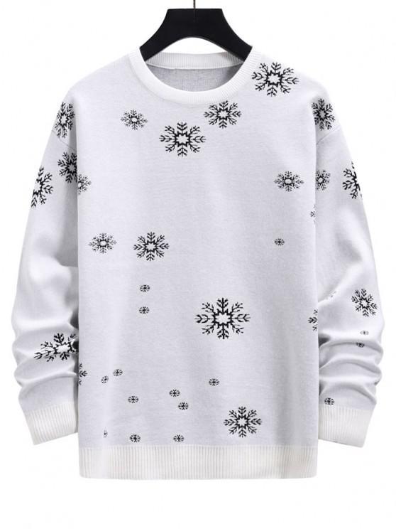 Snowflake Graphic Christmas Crew Neck Sweater - حليب ابيض M