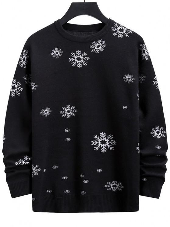 Suéter Natalino com Estampa Gráfica de Flocos de Neve e Gola Redonda - Preto M
