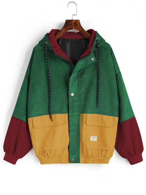 fancy ZAFUL Hooded Label Colorblock Corduroy Jacket - DEEP GREEN 4XL