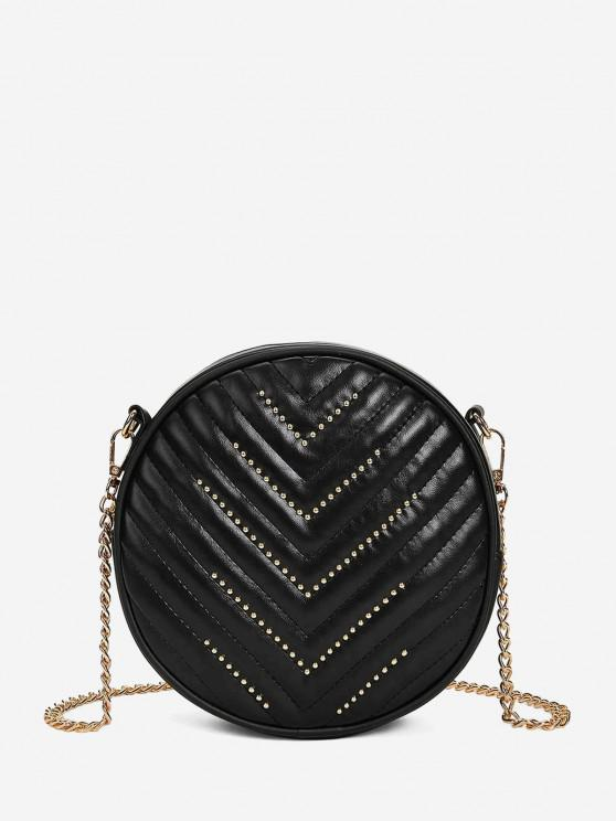 trendy Rivet Quilted Crossbody Canteen Bag - BLACK