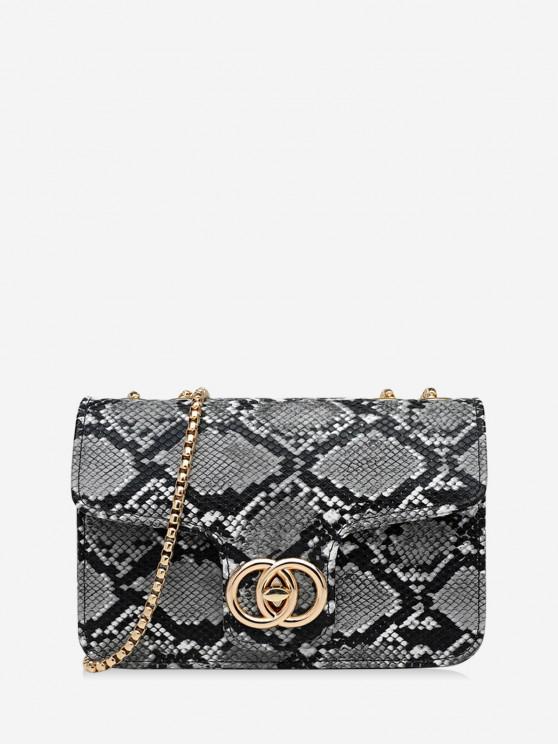 fancy Retro Snakeskin Pattern Chain Bag - GRAY