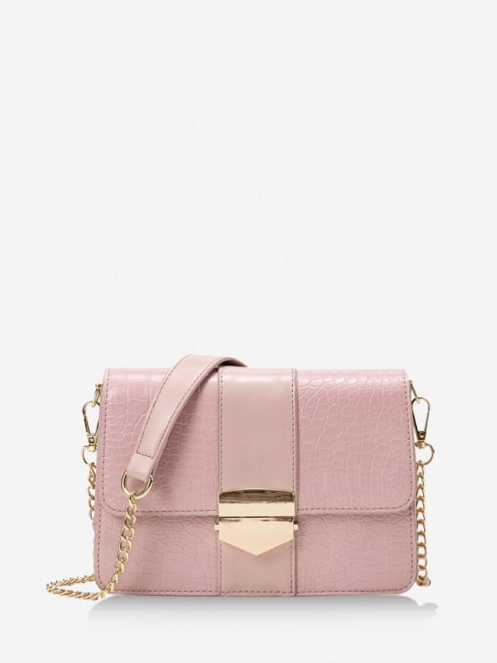 women Chain Rectangle Cover Crossbody Bag - LIGHT PINK