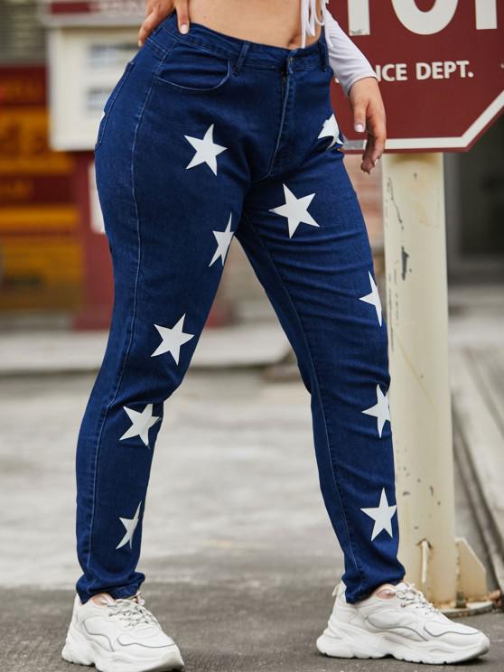Star High Waisted Plus Size Skinny Jeans - ازرق غامق XL