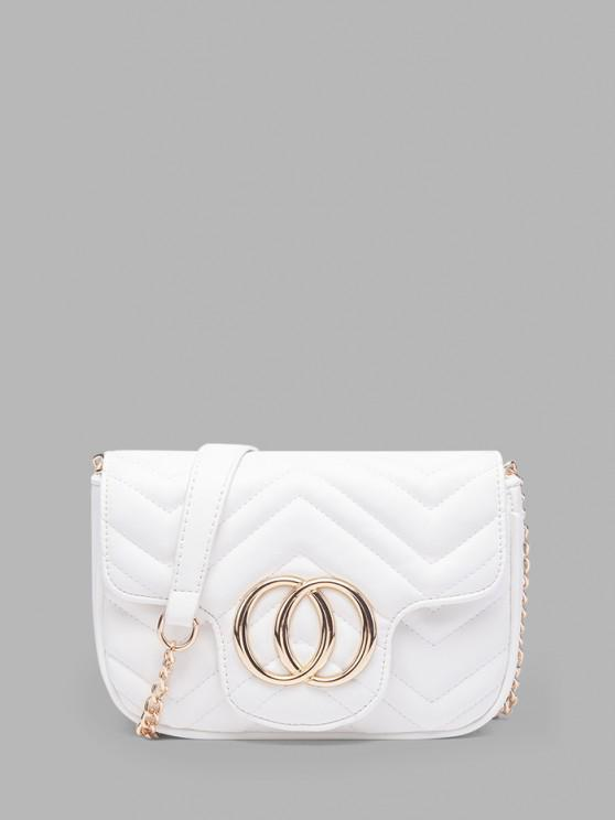 outfit Circle Pattern Quilted Crossbody Bag - WHITE