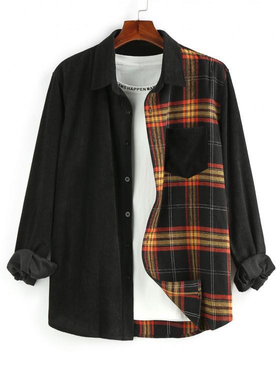 ZAFUL Plaid Panel Button Up Corduroy Shirt - متعدد M