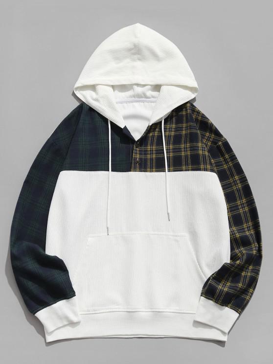 Colorblock Plaid Pattern Corduroy Hoodie - أبيض 2XL