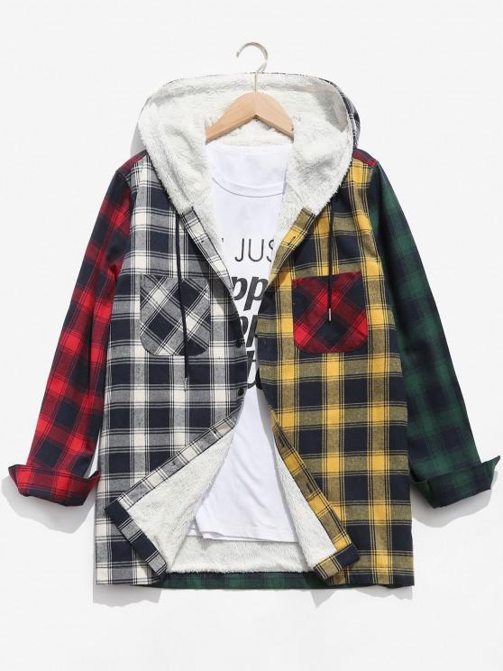 Colorblock Plaid Pocket Fluffy Hooded Shirt Jacket - ديب غرين L