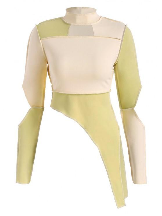 fancy ZAFUL Exposed Stitching Patchwork Cut Out Baby Tee - LIGHT YELLOW S