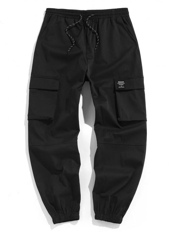 sale ZAFUL Drawstring Letter Applique Cargo Pants - BLACK XXL