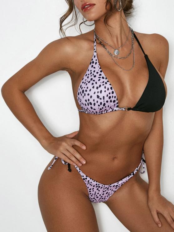 shops ZAFUL Halter Leopard Ribbed String Bikini Swimwear - BLACK S