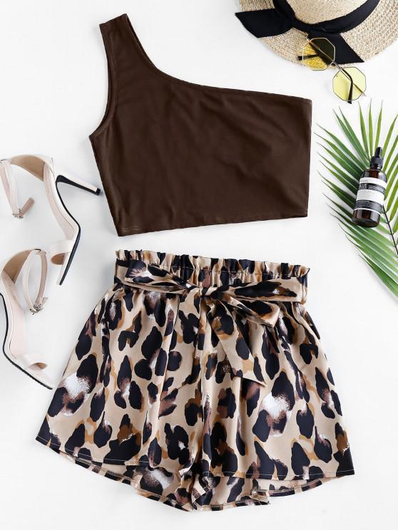 ZAFUL One Shoulder Leopard Paperbag Shorts Set - القهوة العميقة L