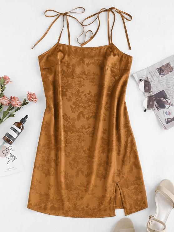 women's ZAFUL Jacquard Tie Shoulder Cami Slit Dress - DEEP YELLOW M