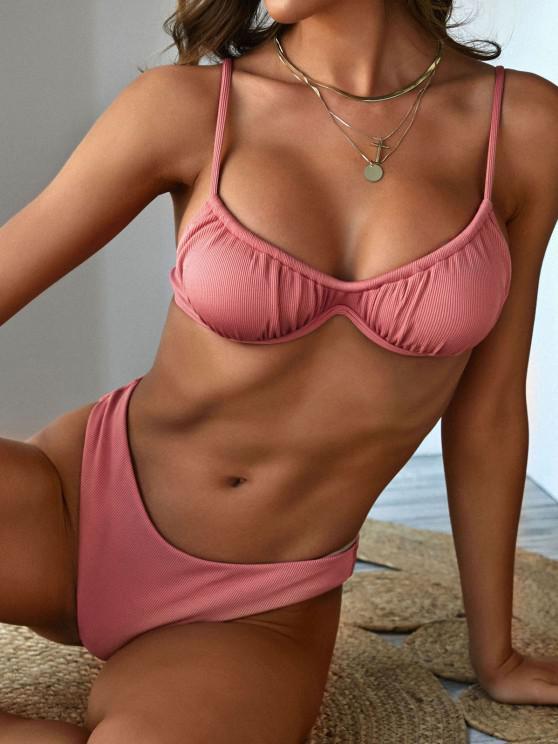 new ZAFUL Ribbed Ruched High Cut Monowire Bikini Swimwear - LIGHT PINK S