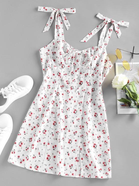 ZAFUL Ditsy Floral Tied Shoulder Slit Ruched Dress - أبيض M