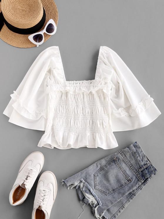 buy ZAFUL Voluminous Sleeve Smocked Ruffles Milkmaid Blouse - WHITE M