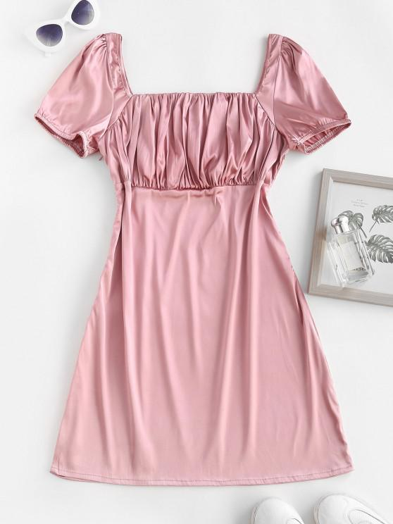 women ZAFUL Square Collar Silky Satin Ruched Milkmaid Dress - LIGHT PINK M