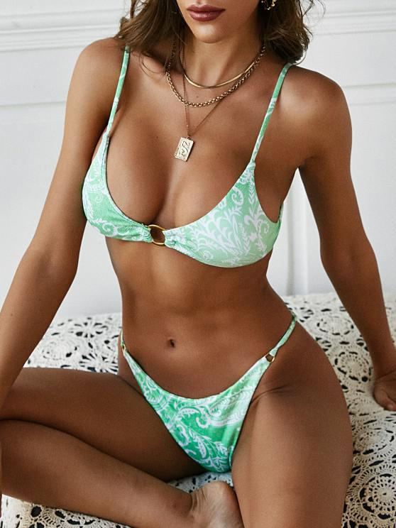 unique ZAFUL Ethnic Printed O-ring Tanga Bikini Swimwear - GREEN S