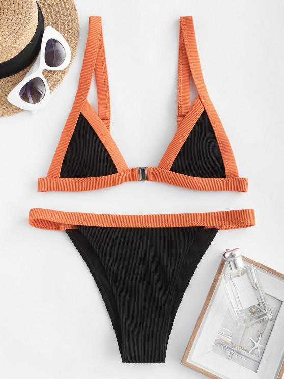 new ZAFUL Textured Ribbed Binding Front Closure Bikini Swimwear - BLACK S
