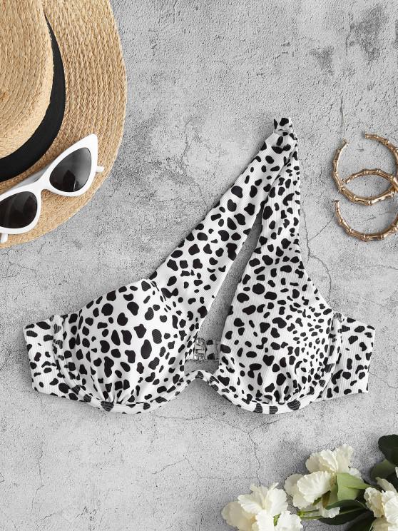 best ZAFUL One Shoulder Dalmatian Dot Ribbed Cutout Monowire Bikini Top - WHITE S