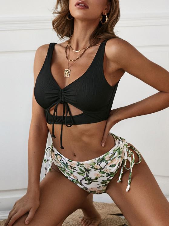 ZAFUL Ribbed Plant Print Cinched Ruched Cutout Tankini Swimwear - أسود XXL