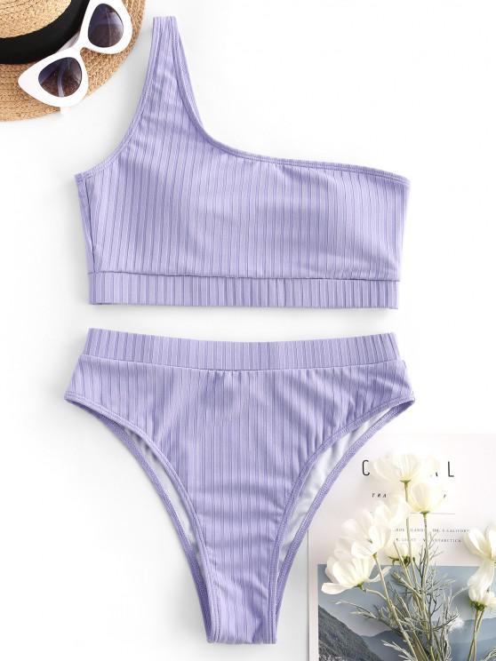 outfit ZAFUL Ribbed One Shoulder High Leg Tankini Swimwear - LIGHT PURPLE S