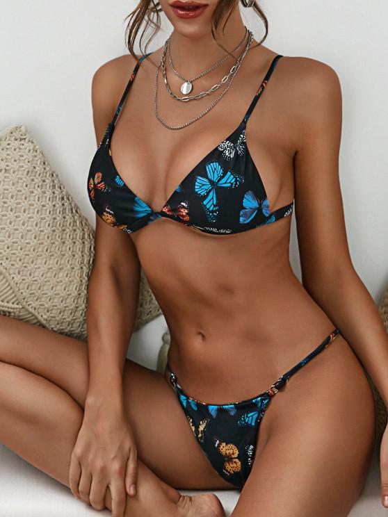ZAFUL Cheeky Multicolored Butterfly Tanga Bikini Swimwear - أسود S