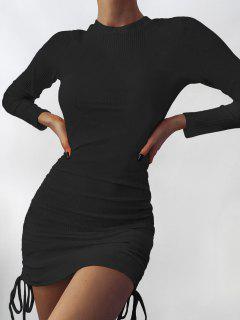Mini Vestido Al Cuerpo Dobladillo Y Canalé - Negro M