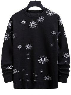 Snowflake Graphic Christmas Crew Neck Sweater - Black M