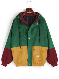 ZAFUL Hooded Label Colorblock Corduroy Jacket - Deep Green 5xl