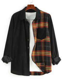 ZAFUL Plaid Panel Button Up Corduroy Shirt - Multi Xl