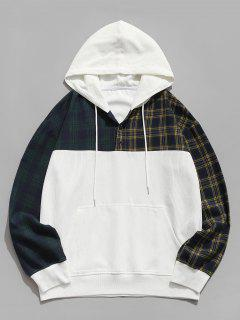 Colorblock Plaid Pattern Corduroy Hoodie - White L