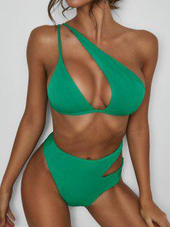 ZAFUL Ribbed One Shoulder Cutout Bikini Swimwear - Green S