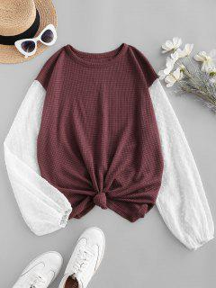 ZAFUL Knit Panel Swiss Dot Sleeve Combo Top - Deep Red M