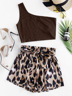 ZAFUL One Shoulder Leopard Paperbag Shorts Set - Deep Coffee S