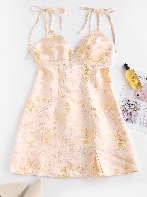 shops ZAFUL Tie Shoulder Floral Jacquard Slit Oriental Dress - LIGHT YELLOW M Mobile