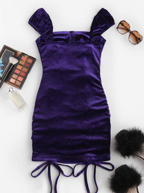 Geschnürtes Bodycon Samt Minikleid - Lila M Mobile